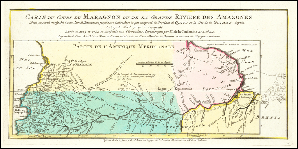 Carte Du Cours Du Maragnon ou de la Grande Riviere Des Amazones . . . Levee en 1743 et 1744….par M. de la Condamine . . . By Jacques Nicolas Bellin