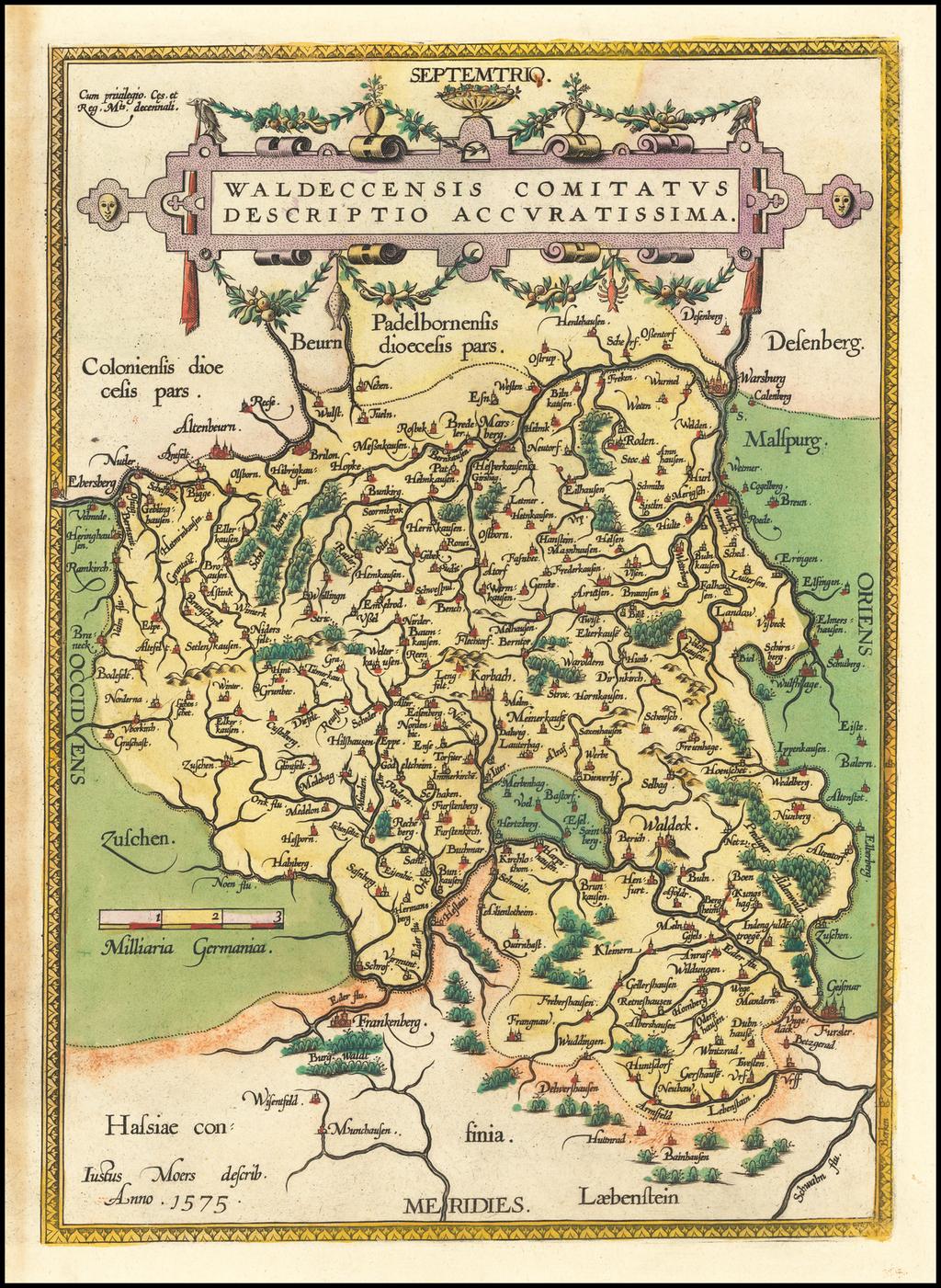 Waldeccensis Comitatus Descriptio Accuratissima By Abraham Ortelius