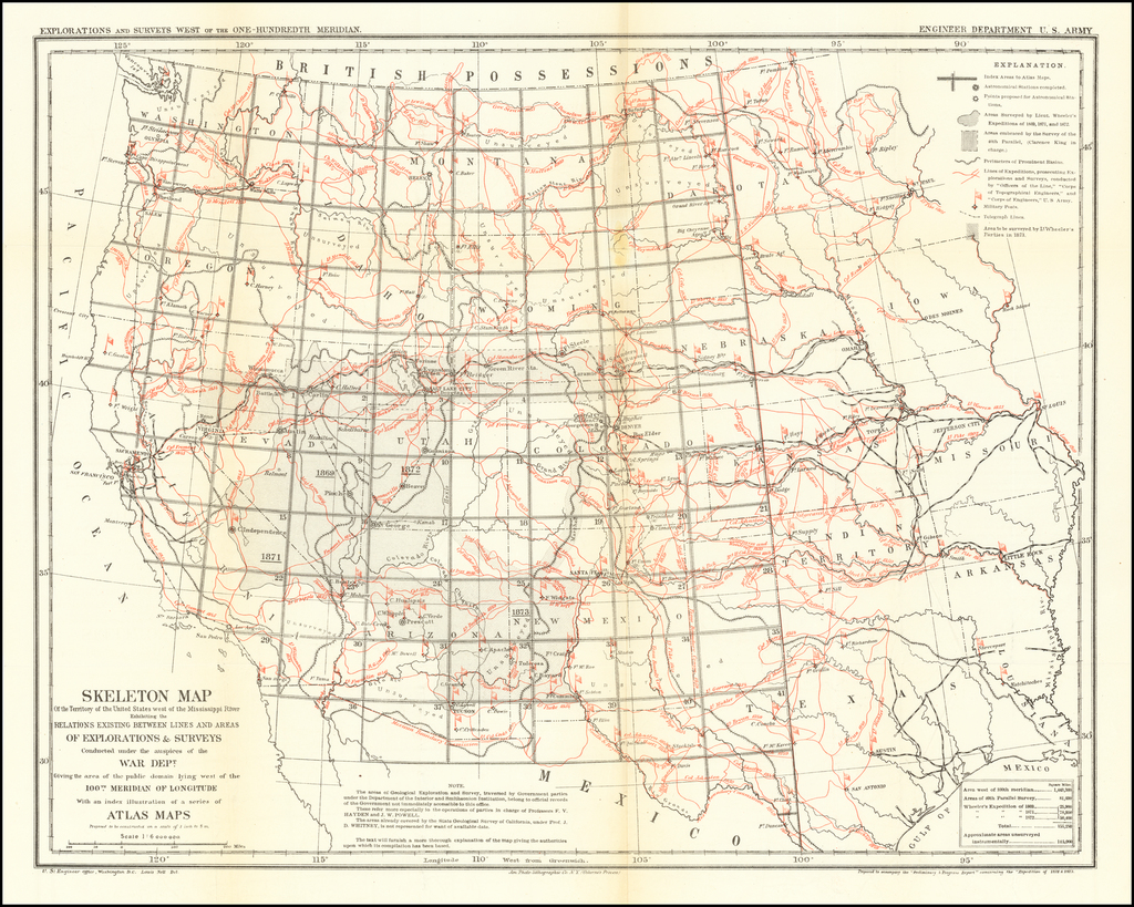 Skeleton Map of the Territory of the United States west of the Mississippi River Exhibiting the Relations Existing Between Lines and Areas of Explorations and Surveys Conducted under the auspices of the War Dept.  Giving the area of the public domain lying west of the 100th Meridian of Longitude . . .  By U.S. Engineers / Louis Nell
