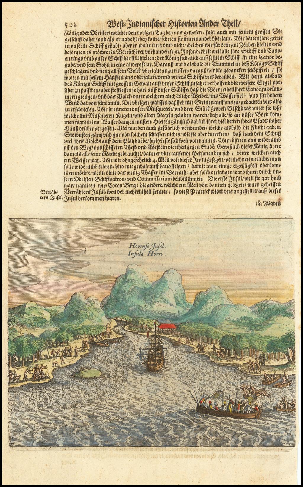 Hoornse Insel. Insula Horn. By Theodor De Bry / Matthaeus Merian