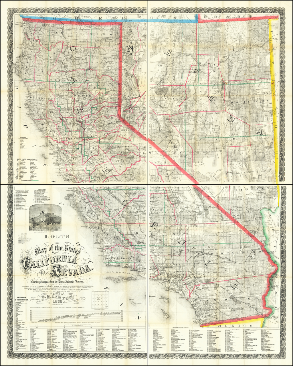 Map of the States of California and Nevada Carefully Compiled from the Latest Authentic Sources. By Warren Holt  &  S.B. Linton