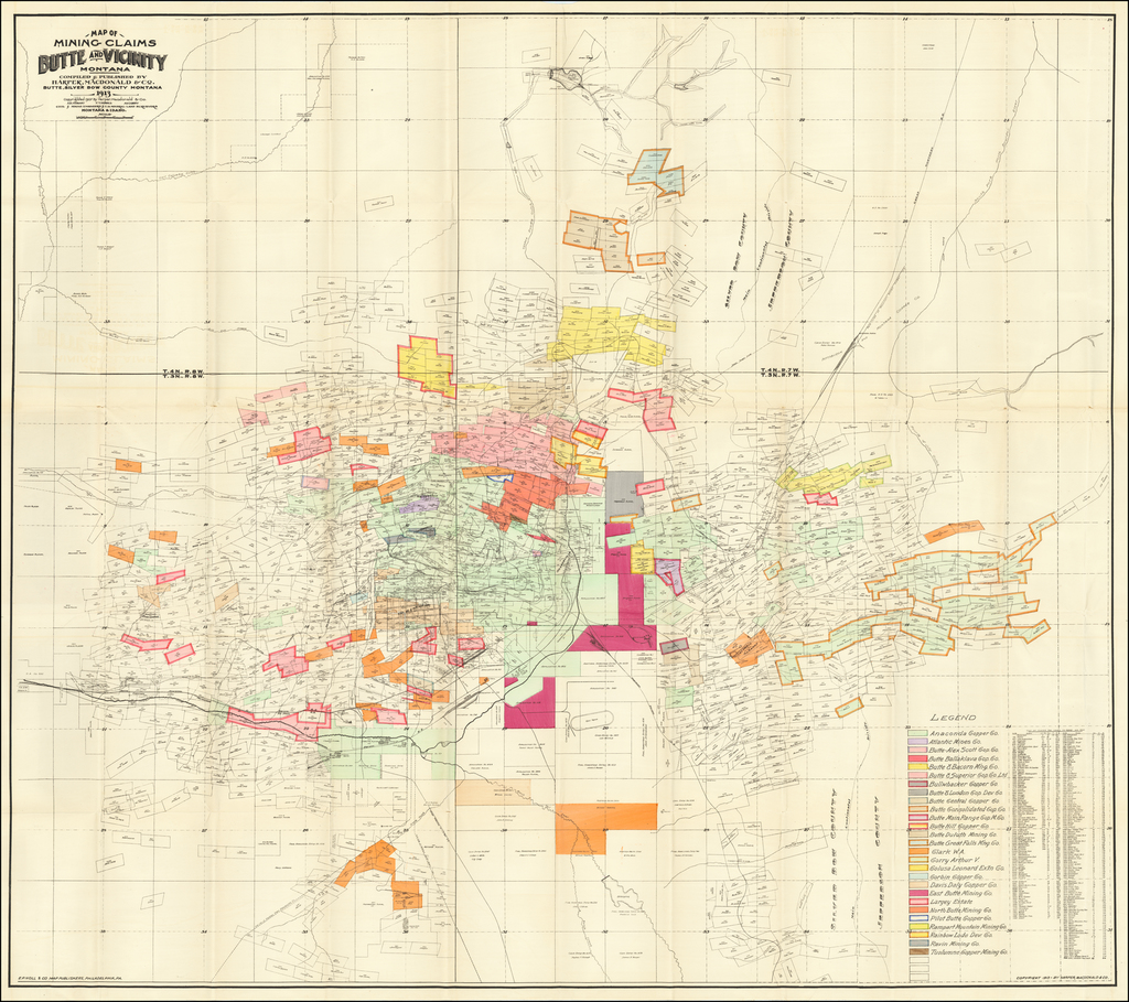 Map of Mining Claims Butte and Vicinity Montana . . . 1913 By Harper, MacDonald & Co.