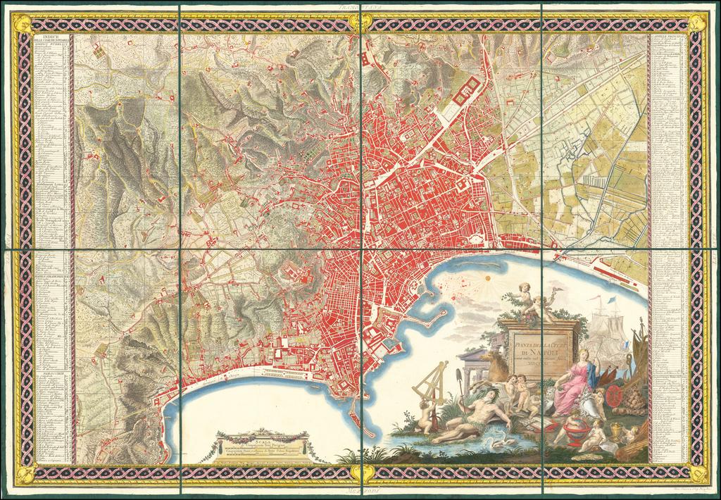 [Deluxe Color Set of 3 Maps of Naples & Vicinity] Pianta Golfo e Contori Di Napoli By Giovanni Antonio Rizzi-Zannoni