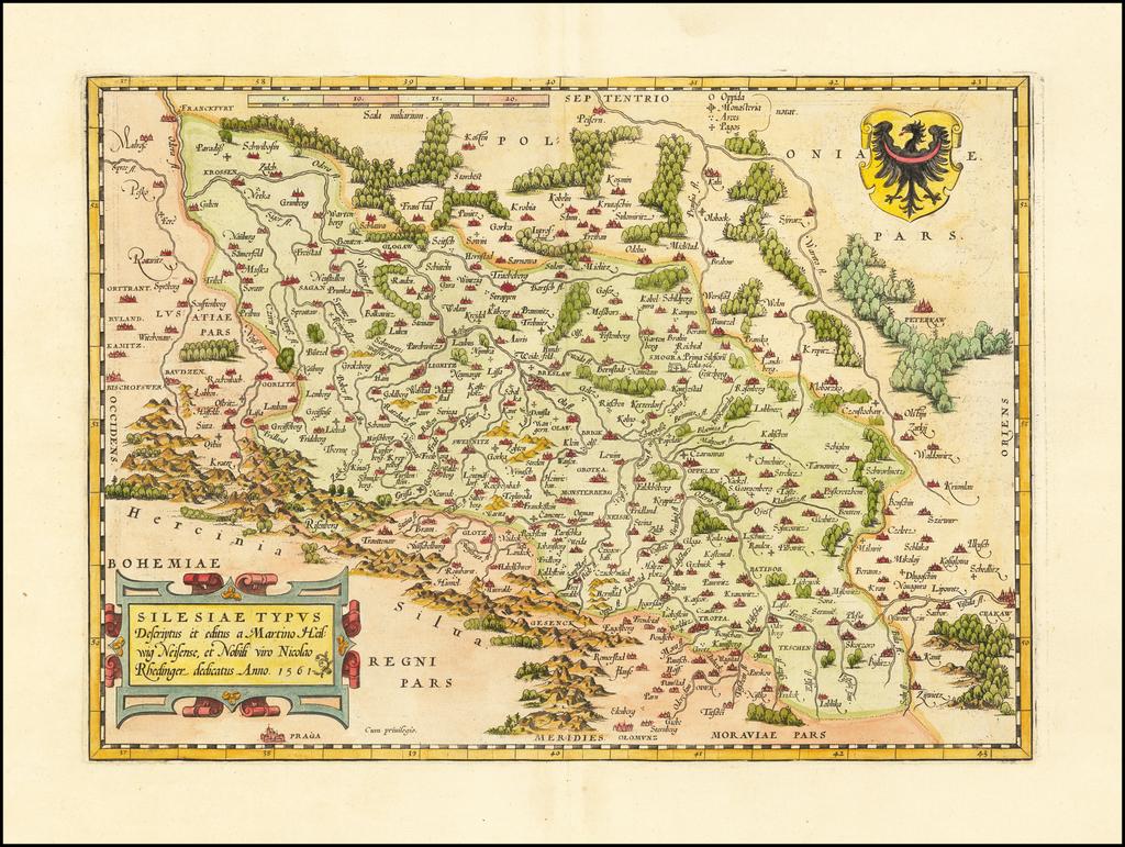 Silesiae Typus Descriptus et editus Martino Heilwig Neissense, et Nobili viro Nicolao Rhedinger dedicatus Anno 1561 By Abraham Ortelius