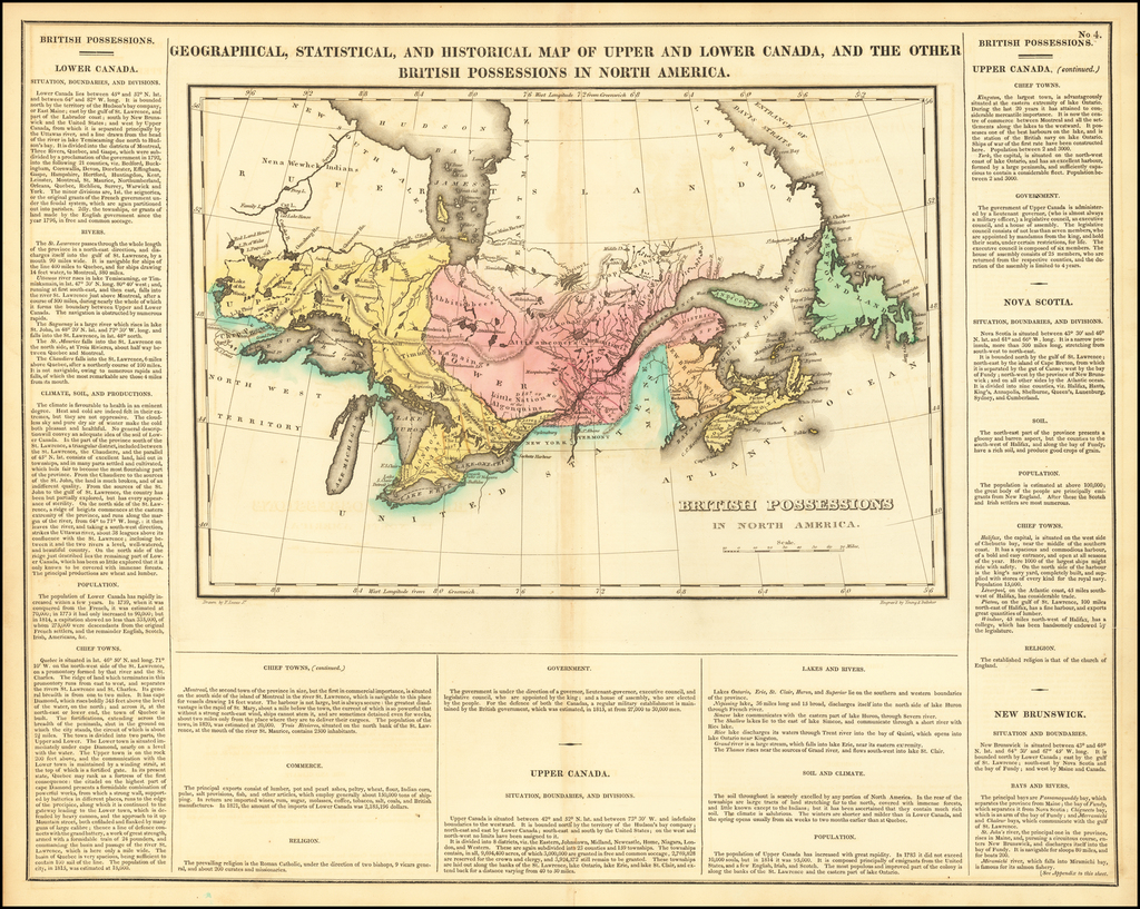 Geographical, Statistical and Historical Map of Upper and Lower Canada, and The Other British Possessions In North America By Henry Charles Carey  &  Isaac Lea