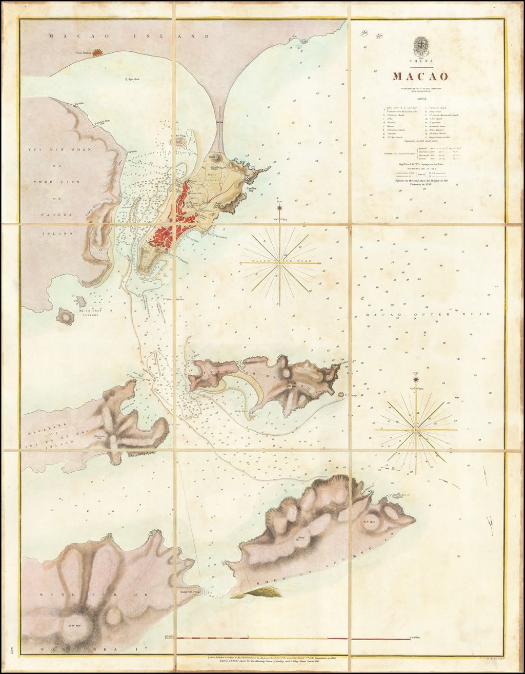 Macao Surveyed By Captn. Peter Heywood H.M.S. Dedaigneuse 1804 By British Admiralty