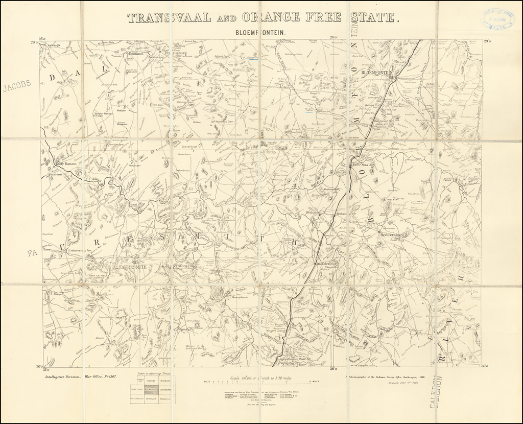 Transvaal and Orange Free State  Bloemfontein By Ordinance Survey Office