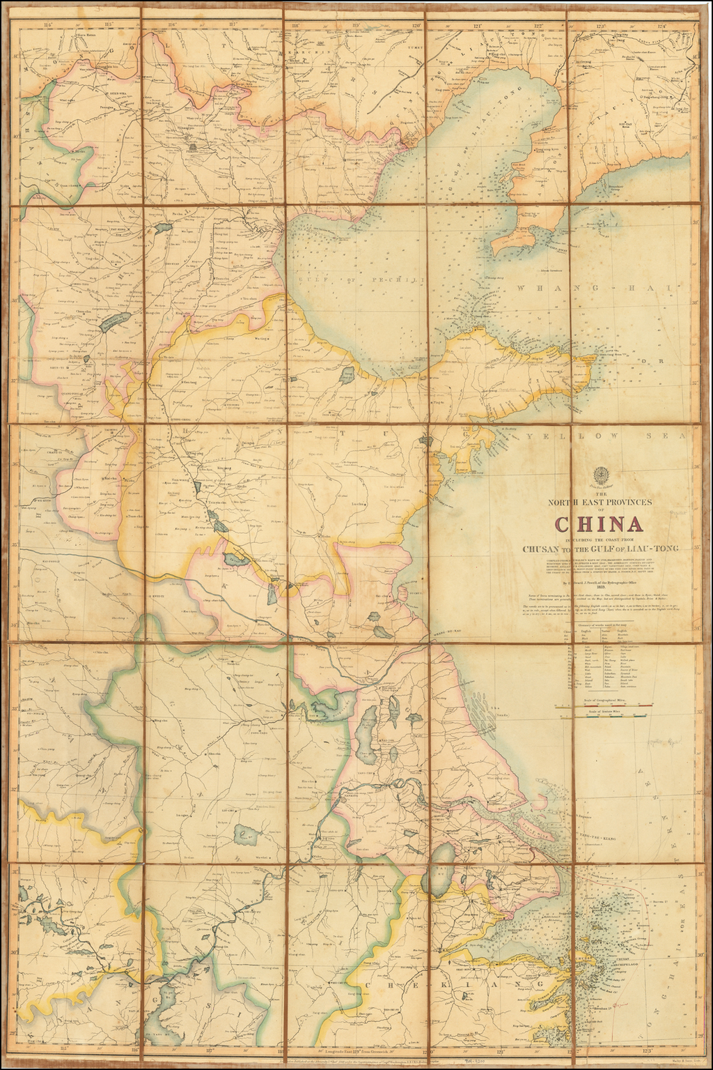 [Second Opium War Map]  The North East Provinces of China Including The Coast From Chusan to the Gulf of Liau-Tong Compiled From Du Halde's Maps of 1738, McCartney, Barrow, Parish and Staunton 1793-7, Klaproth & Biot 1842, The Admiralty Survys By Captns. Bethune, Kellett & Collinson 1842, Capn. Vansittart 1855, Comr. Ward & Lieut. Bullock 1858, Monsr. Ploix' Survey of The Tien-Tsin River 1858. Part of the Coat of Pe-Chilli From A Survey by Major A Fisher, R.E. Septr. 1859 By British Admiralty