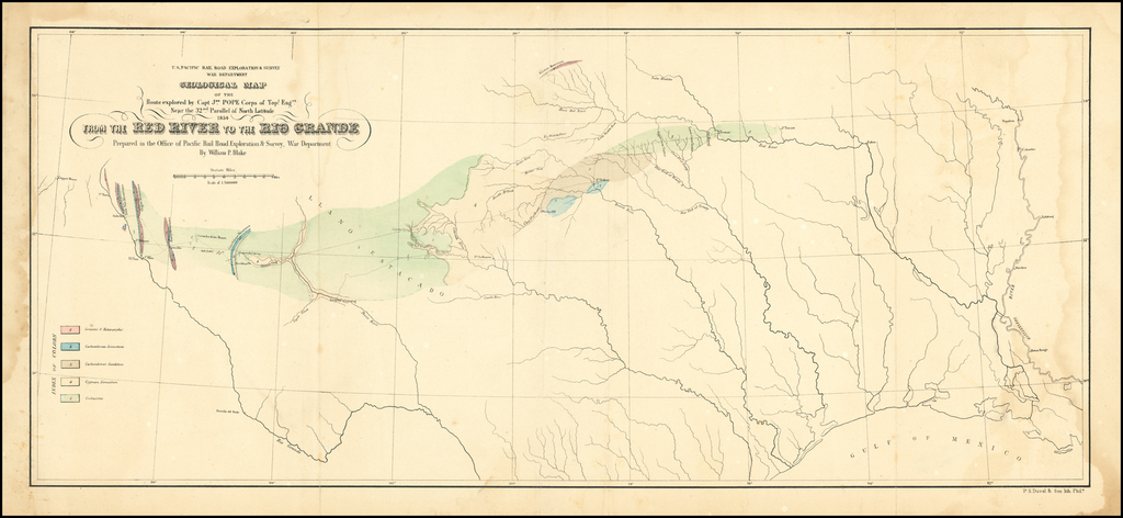 Geological Map of the Route explored by Capt. Jno. Pope Corps of Topl. Engrs. Near the 32nd Parallel of North Latitude 1854.  From the Red River to the Rio Grande . . .  By U.S. Pacific RR Surveys