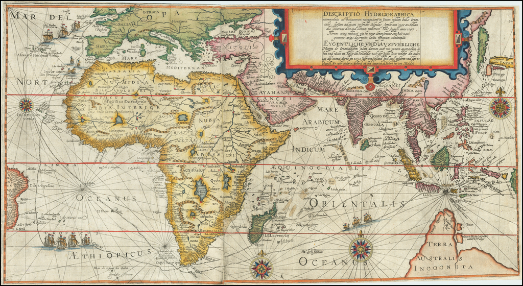 Descriptio Hydrographica accomodata ad Battavorum navagatione Javam Insula Indiae Orientalis . . . 1595 . . . 1597 . . . By Theodor De Bry / Cornelis de Houtman