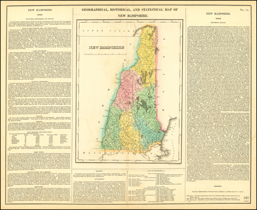 Geographical, Historical and Statistical Map of New Hampshire By Henry Charles Carey  &  Isaac Lea
