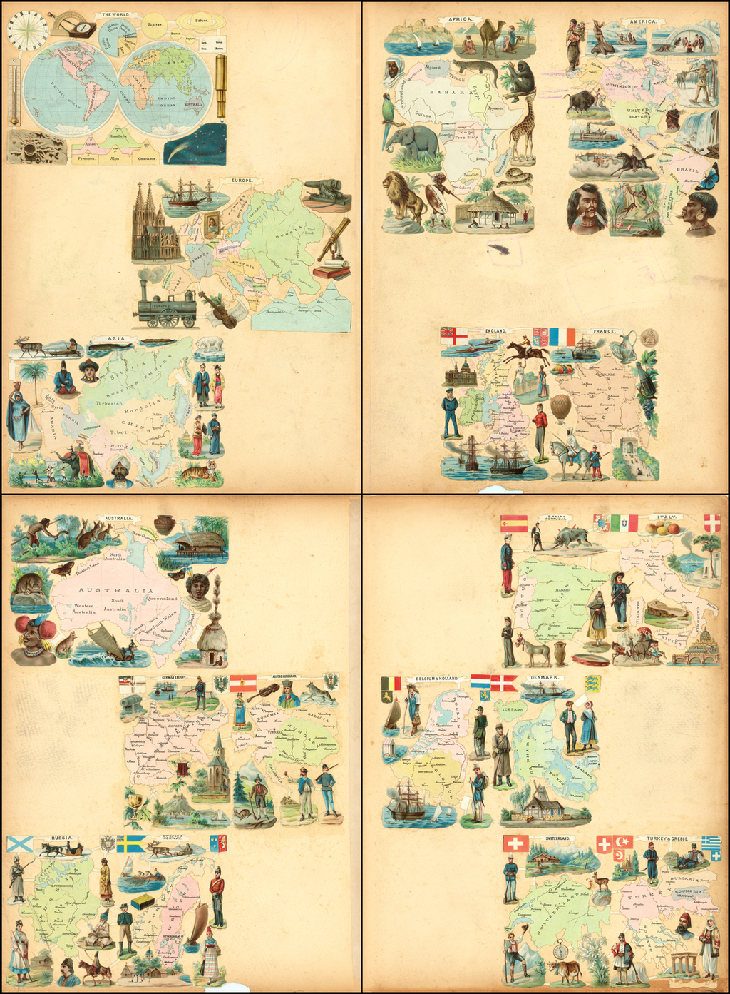 Twelve Die Cut Maps of Different Parts of the World By Anonymous