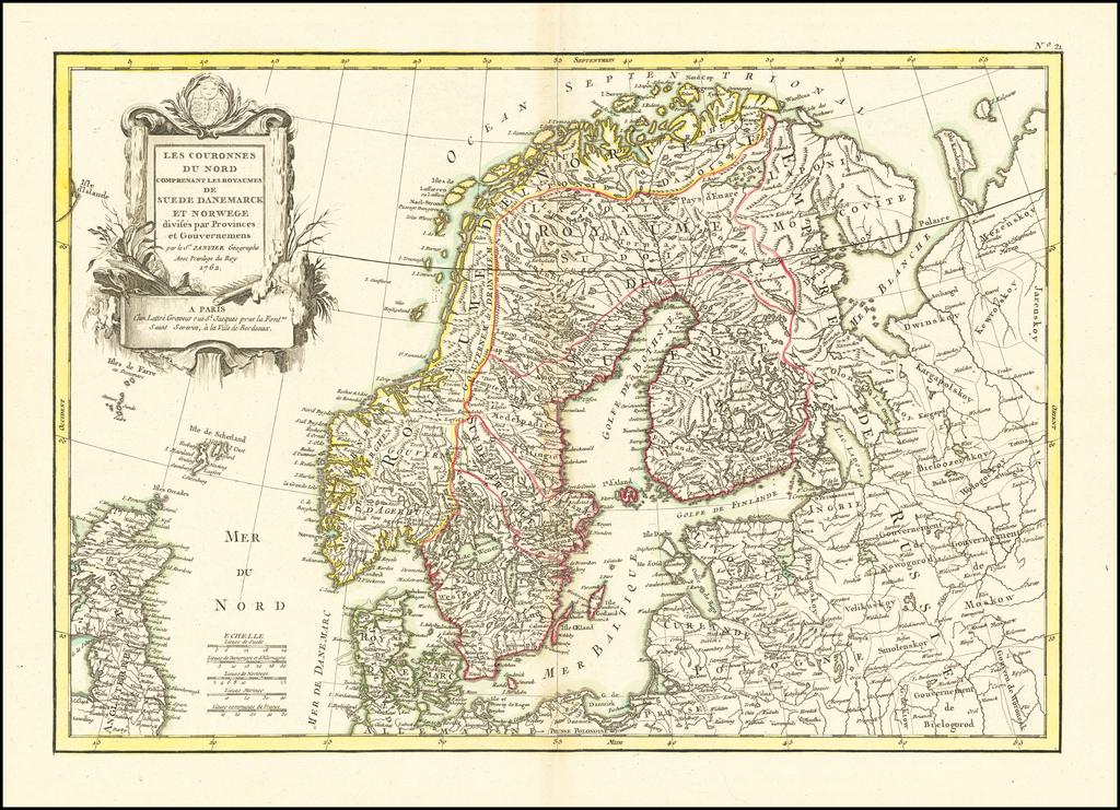 Les Couronnes Du Nord Comprenant Les Royaumes De Suede Danemarck et Norwege, Divises par Provinces et Gouvernements . . . 1762 By Jean Janvier