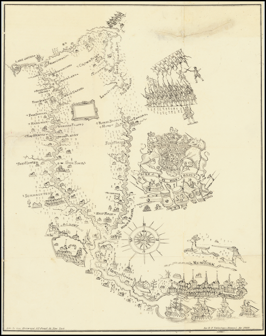 [New York City to Lake Ontario -- Powder Horn Illustration] By Valentine's Manual