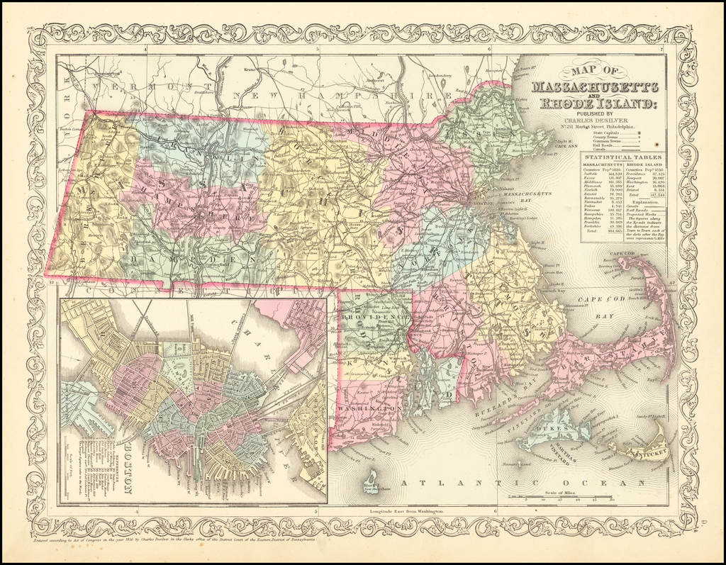 Map of Massachusetts & Rhode Island:  Published By Thomas Cowperthwait & Co. By Charles Desilver