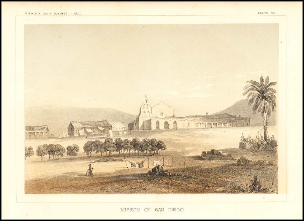 Mission of San Diego By U.S. Pacific RR Survey