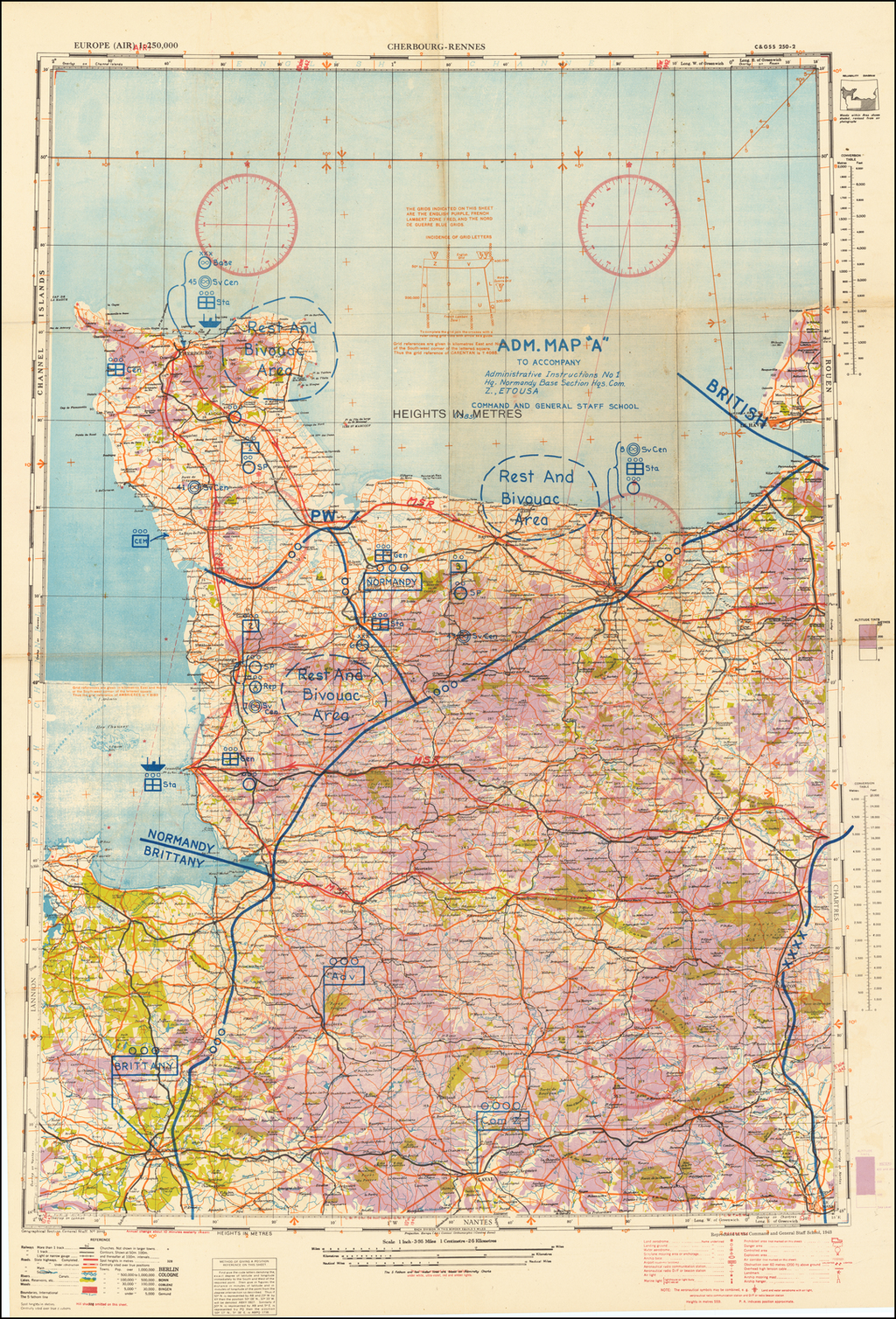 "(Second World War - Normandy Campaign) Cherbourg - Rennes | Adm. Map ""A"" To Accompany Administrative Instructions No 1 Hq. Normandy Base Section Hqs. Com[munication] Z[one], E[uropean] T[heater] [of] O[perations] U[nited] S[tates] A[rmy] By Geographical Section, War Office (UK)"