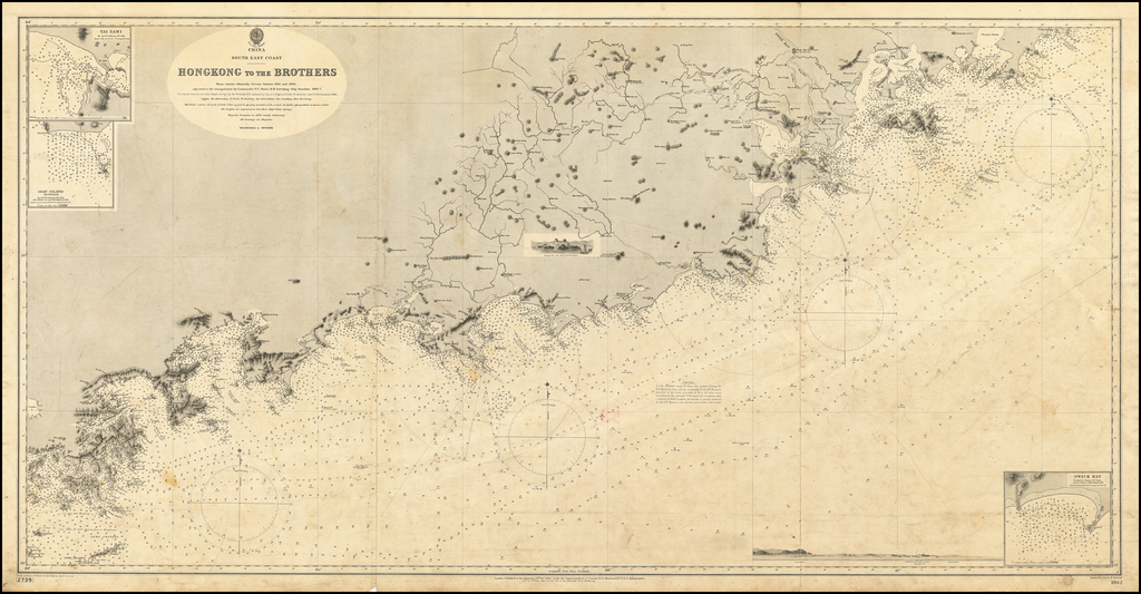 Hongkong to the Brothers From various Admiralty Charts between 1845 and 1886, adjusted to the triangulations by Commander W.U. Moore, H.M. Surveying Ship Rambler, 1886-7. By British Admiralty