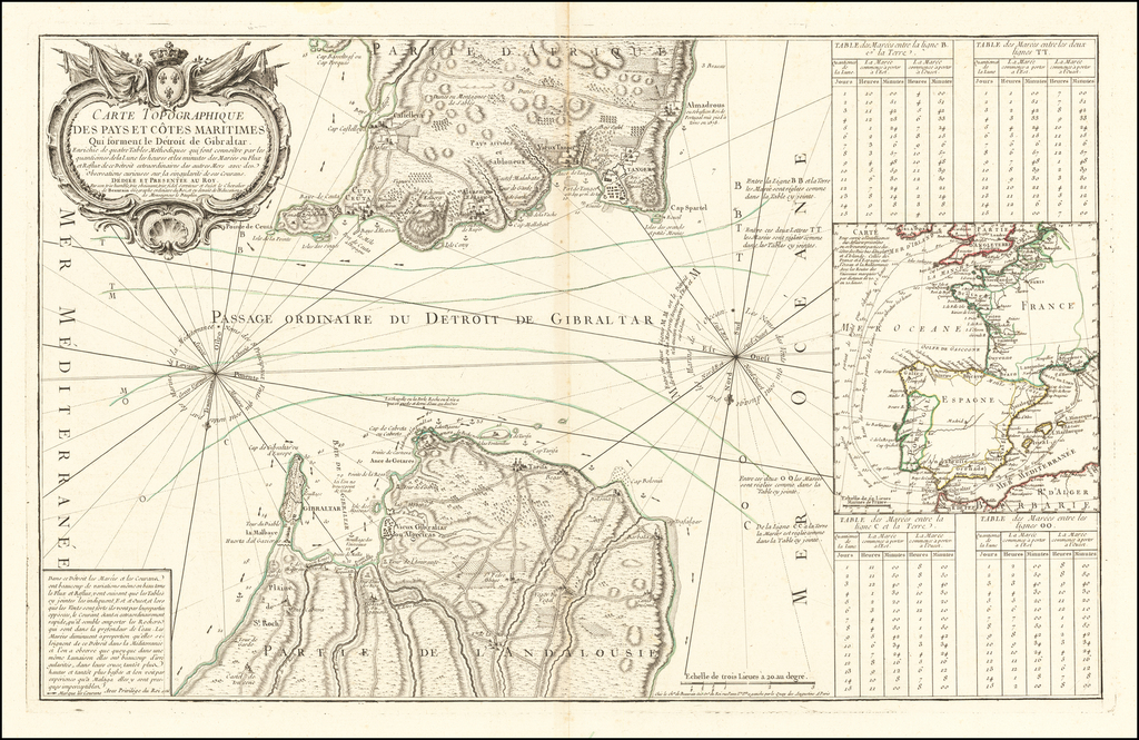 Carte Topographique des pays et cotes maritimes Qui forment le Detroit de Gibraltar . . .  By Jean de Beaurain