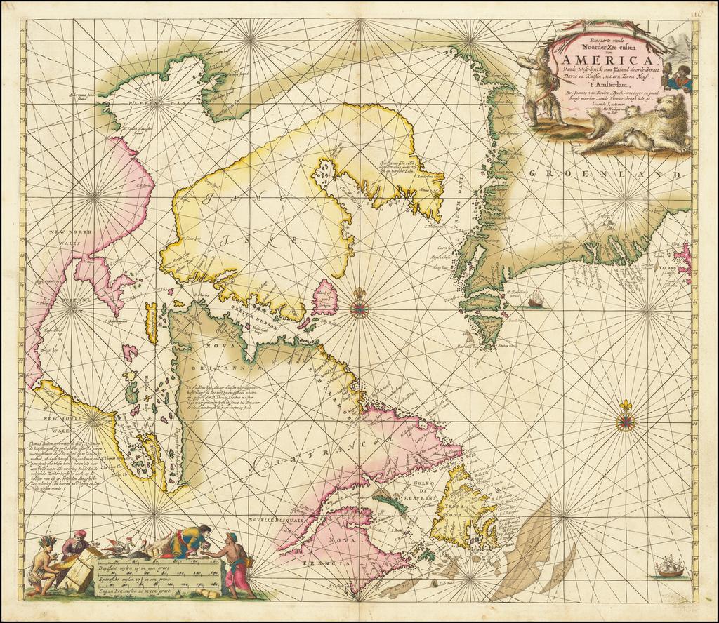 Pascaarte vande Noorder Zee custen van America Vande West-hoeck van Ysland doorde Straet Davis en Hudson, tot aen Terra Neuf . . . By Gerard Van Keulen
