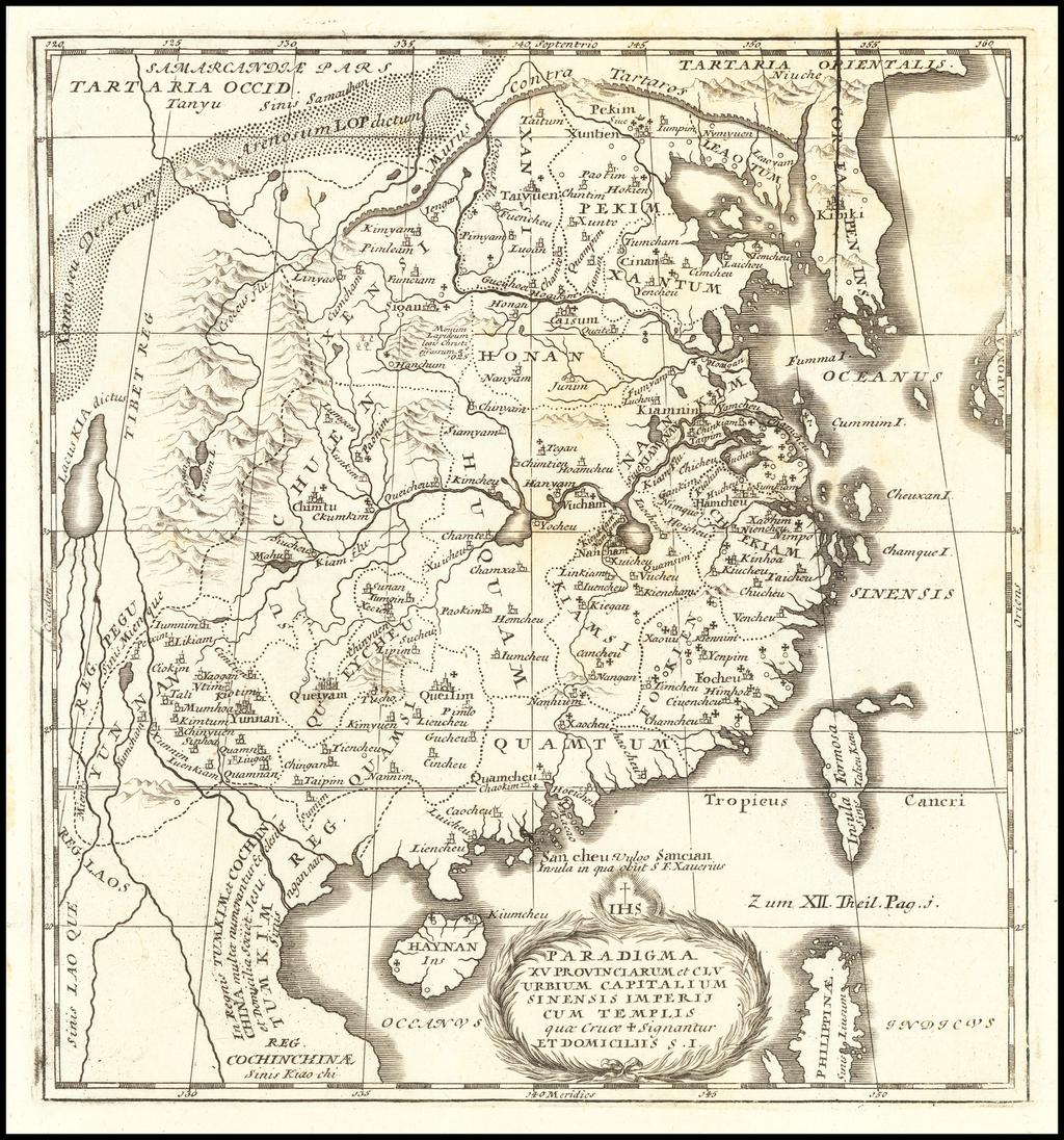 Paradigma XV Provinciarum et CLV Urbium Capitalium Sinensis Imperij Cum Templis quae Cruce X Signatur Et Domiciliis S.I. By J. Stocklein