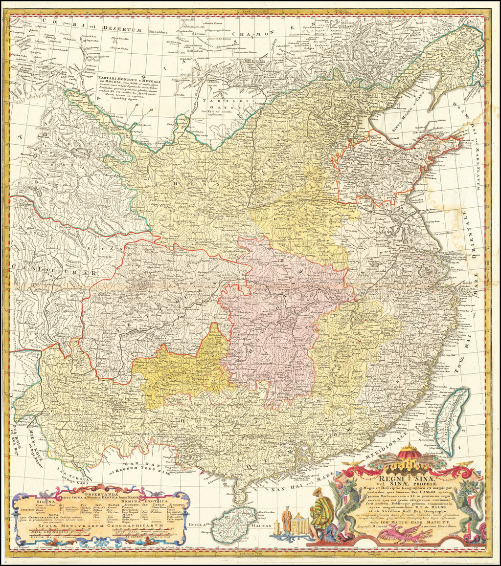 Regni Sinae vel Sinae Propriae Mappa et Descriptio Geographica... By Johann Matthaus Haas