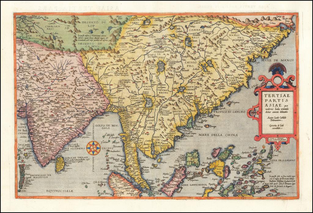 Tertiae Partis Asiae quae modernis India orientalis dicitur acurata delineatio Autore Iacobo Castaldo Pedemontano By Gerard de Jode