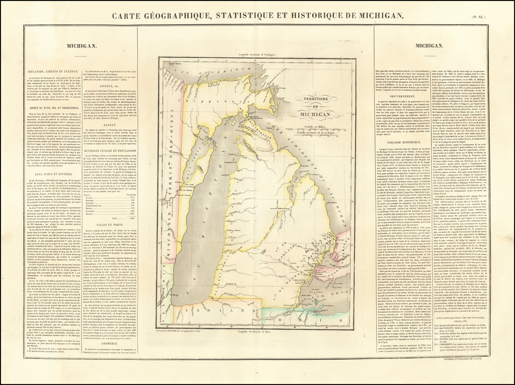 [First map of Michigan Territory published in Europe]  Carte Geographique, Statistique et Historique De Michigan By Jean Alexandre Buchon
