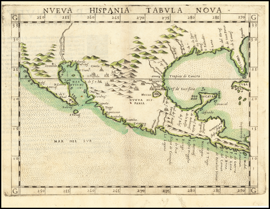 Nueva Hispania Tabula Nova  (Old Color!) By Girolamo Ruscelli