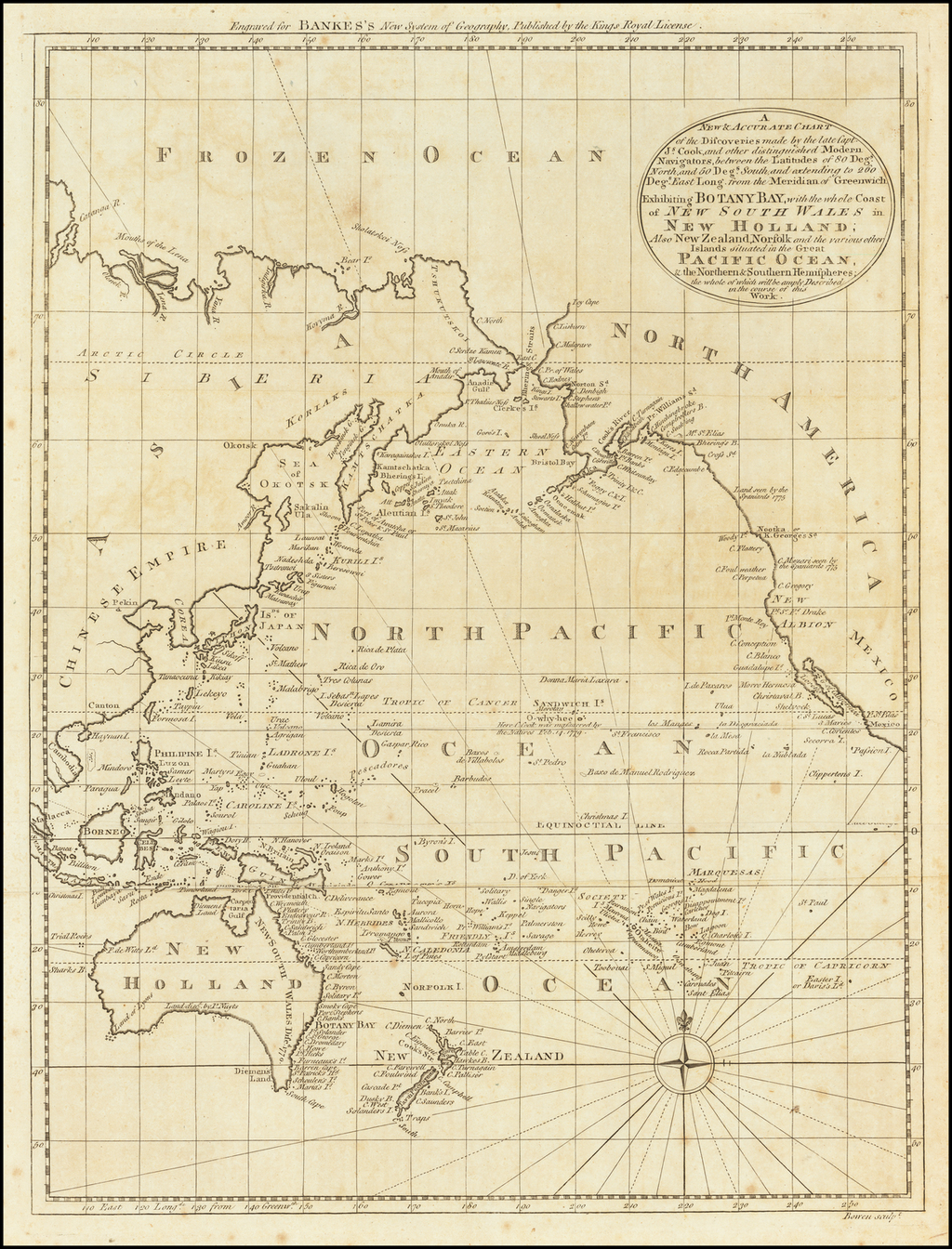 A New & Accurate Chart of the Discoveries made by the late Capt. Js. Cook, and other distinguished Modern Navigators . . . Exhibiting Botany Bay, with the whole Coast of New South Wales in New Holland; Also New Zealand,, Norfolk and the various other Islands situated in the Great Pacific . . .  By Emanuel Bowen
