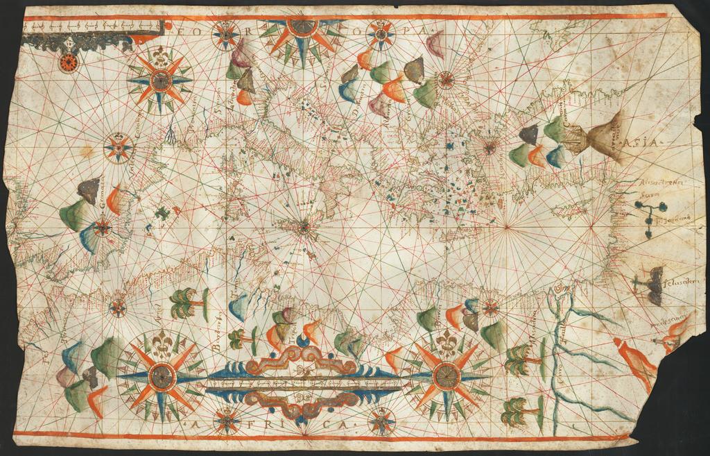 [Portolan Chart of the Mediterranean]   By Placido Caloiro et  Oliva