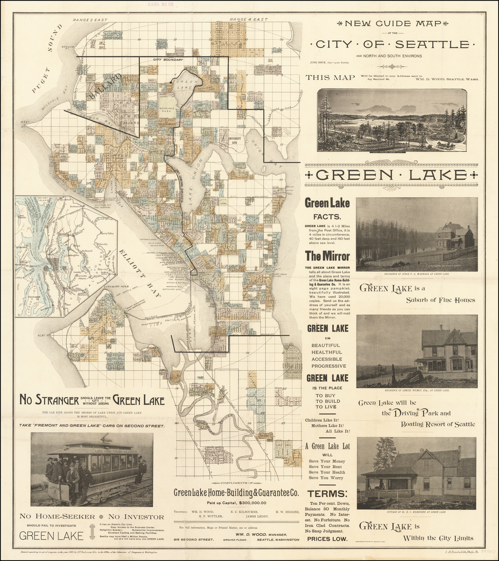 New Guide Map of the City of Seattle and North and South Environs . . . 1891 By O.P.  Anderson & Son