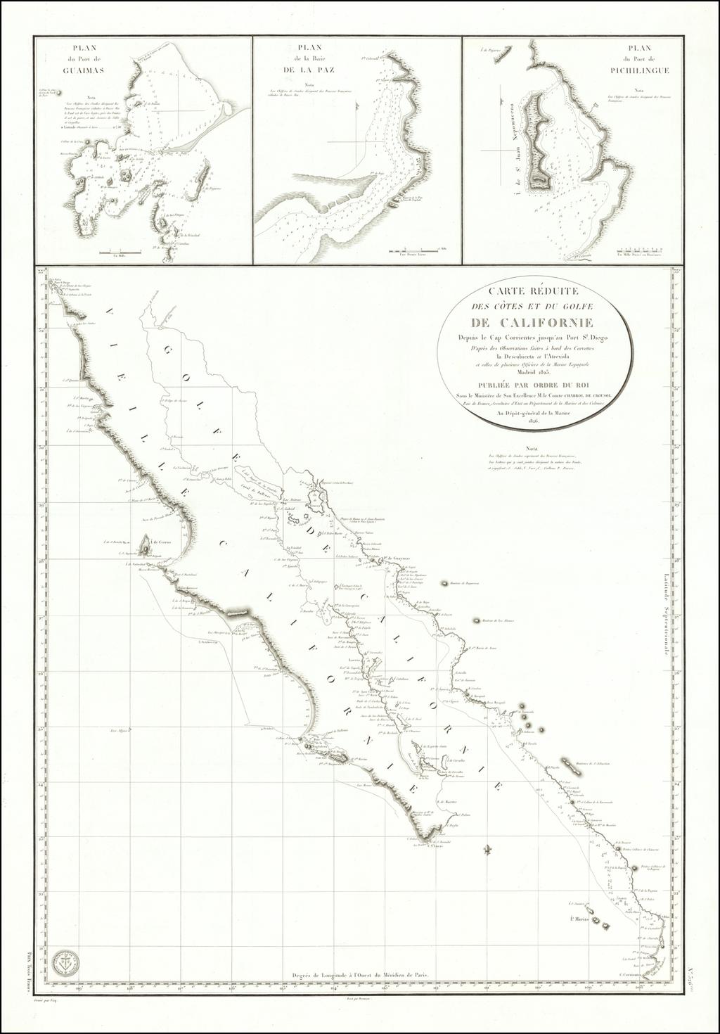 Carte Reduite Des Cotes et du Golfe De Californie Depis le Cap Corrientes jusqu'au Port St. Diego . . . 1826 By Depot de la Marine