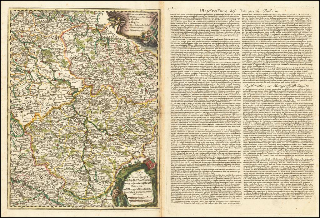 Neue und Accurate Geographische Post Land Karten des gentzen Konigreichs Bohmen und Marggraffthum Lausitz sambt allerr angräntzenden Ländern By Jacob Lidl