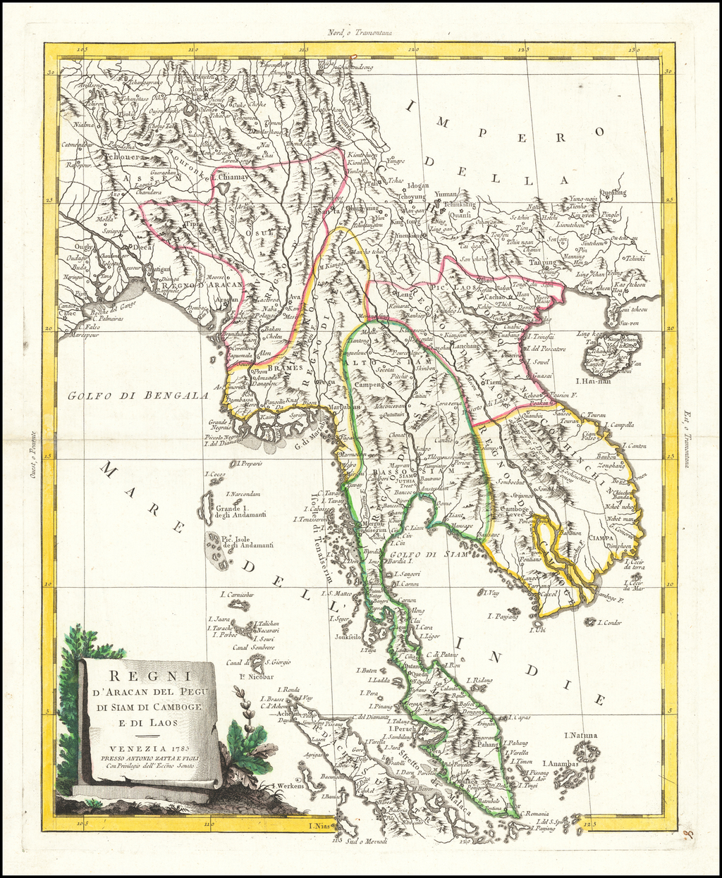 Regni D'Aracan Del Pegu Di Siam Di Camboge E Di Laos . . . 1785 By Antonio Zatta