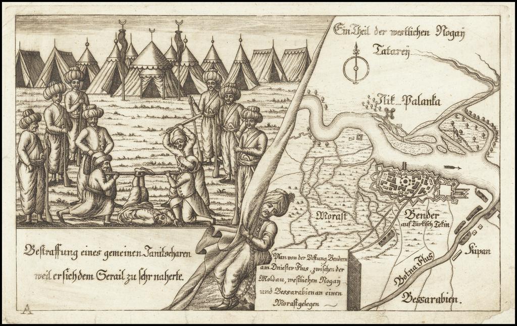 [Tighina / Bender, Moldavia -- Dniester River]  Plan von der Festung Bendern am Dniester Flus, zwischen der Moldau, westlichen Nogai und Bessarabien an einen Morast gelegen By Anonymous