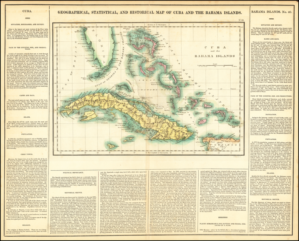 Geographical, Statistical and Historical Map of Cuba and the Bahama Islands By Henry Charles Carey  &  Isaac Lea