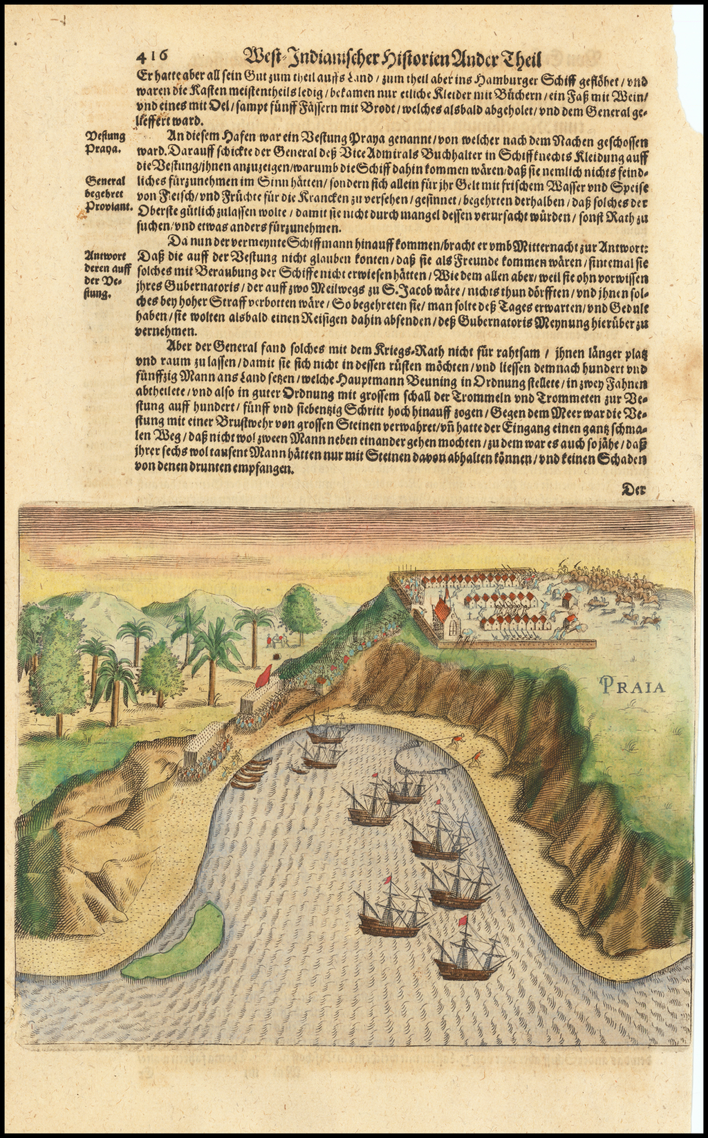 [Dutch attack the fortress of Praia, Cape Verde Islands] By Theodor De Bry / Matthaus Merian
