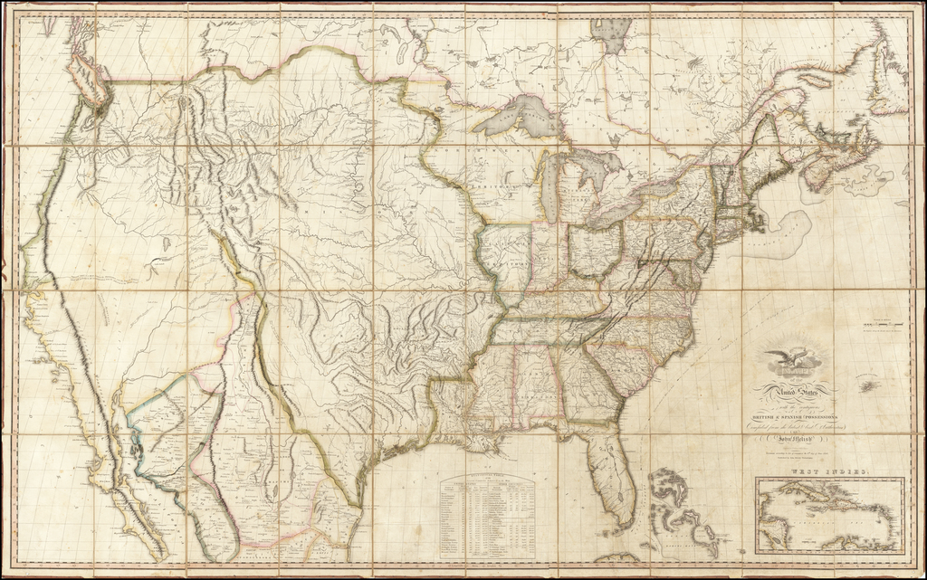 Map of the United States with the Contiguous British & Spanish Possessions Compiled from the latest & best authorities by John Melish . . . 6th day of June, 1816 By John Melish