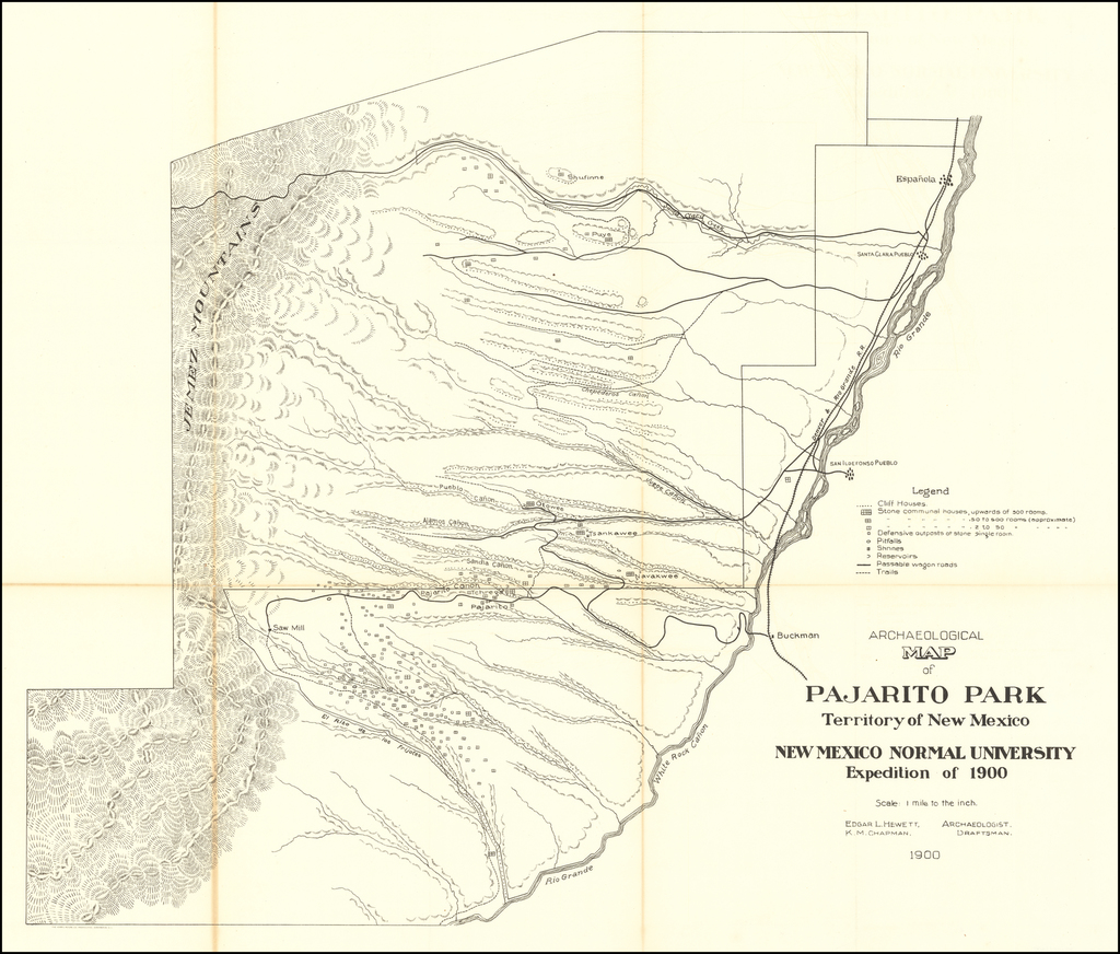 Archaeological Map of Pajarito Park Territory of New Mexico New Mexico Normal University Expedition of 1900  By Norris Peters Co.