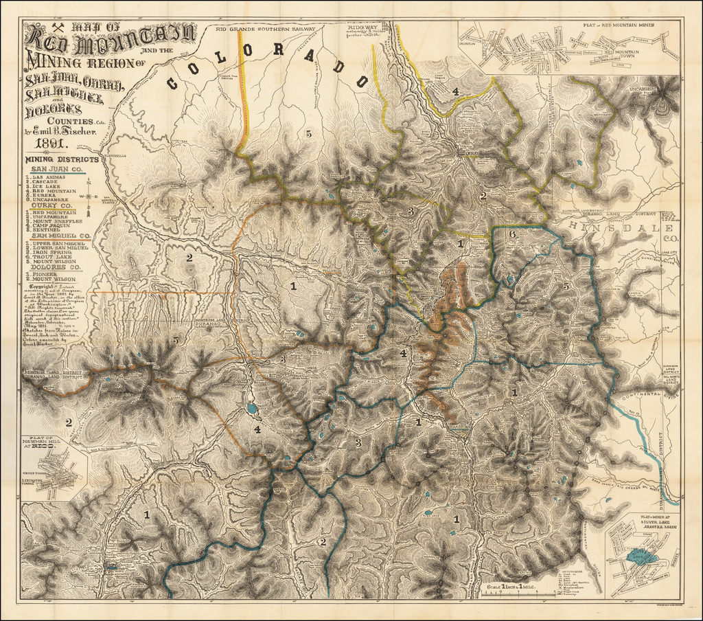 Map of Red Mountain and the Mining Region of San Juan, Ouray, San Miguel and Dolores Counties, Colo.  By Emil Fischer.  1891. By Emil B. Fischer