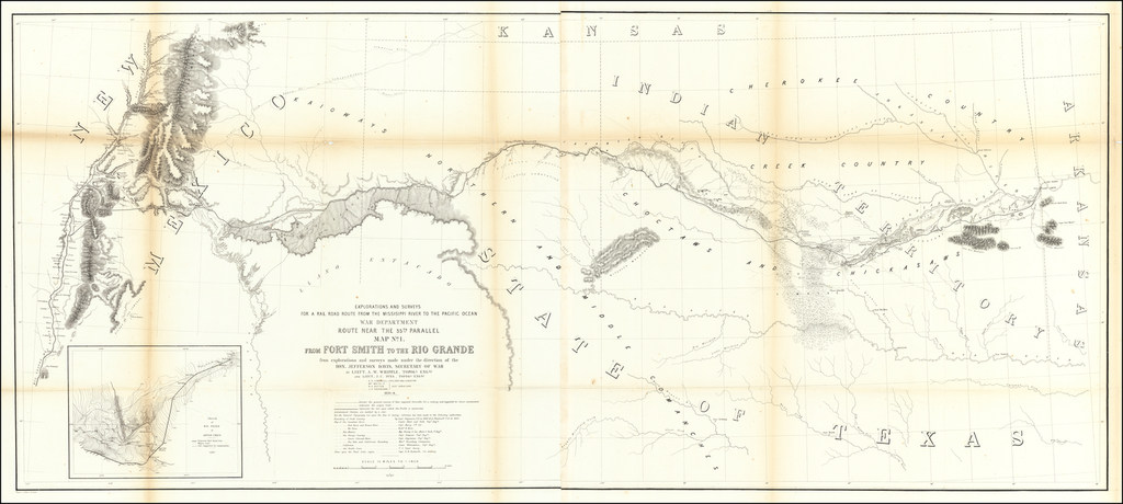 Map No. 1.  From Fort Smith to the Rio Grande from explorations and surveys made under the direction of Hon. Jefferson Davis, Secretary of War By Lieut A.W. Whipple . . . and Lieut J.C. Ives, Topogl Engrs . .  .1853-4 By U.S. Pacific RR Surveys