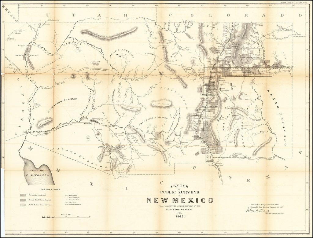 Sketch of the Public Surveys In New Mexico 1862 [Includes Arizona before it became a territory.] By U.S. General Land Office