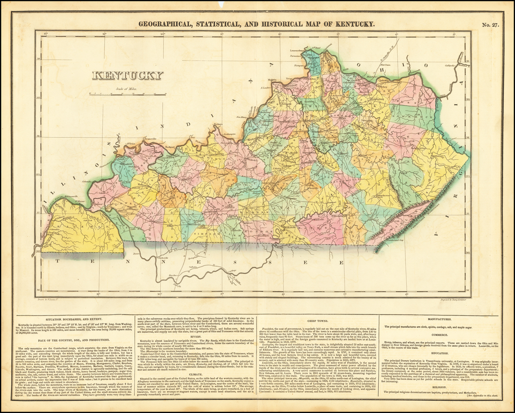 Geographical, Statistical and Historical Map of Kentucky By Henry Charles Carey  &  Isaac Lea