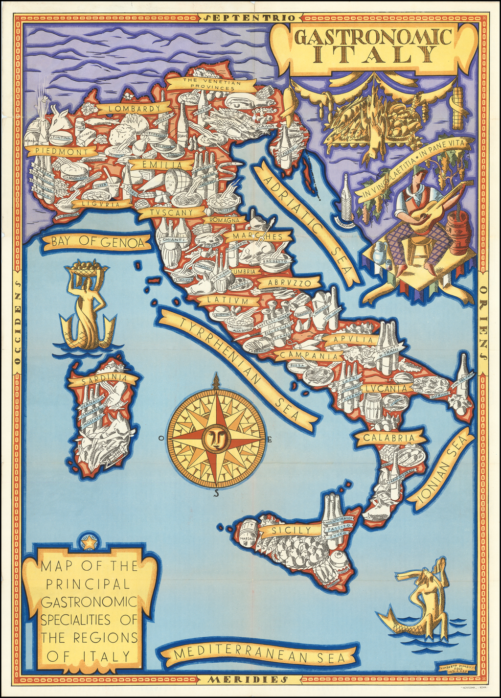 Map of the Principal Gastronomic Specialties of the Regions of Italy By Umberto Zimelli