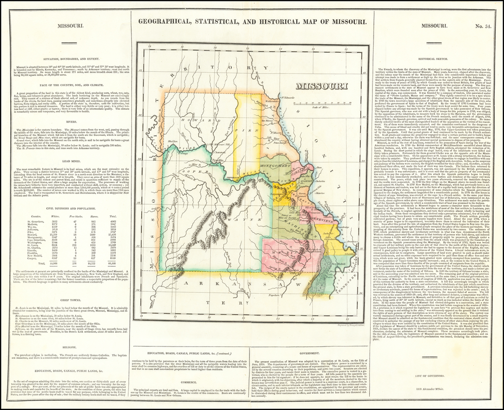 Geographical, Statistical and Historical Map of Missouri By Henry Charles Carey  &  Isaac Lea