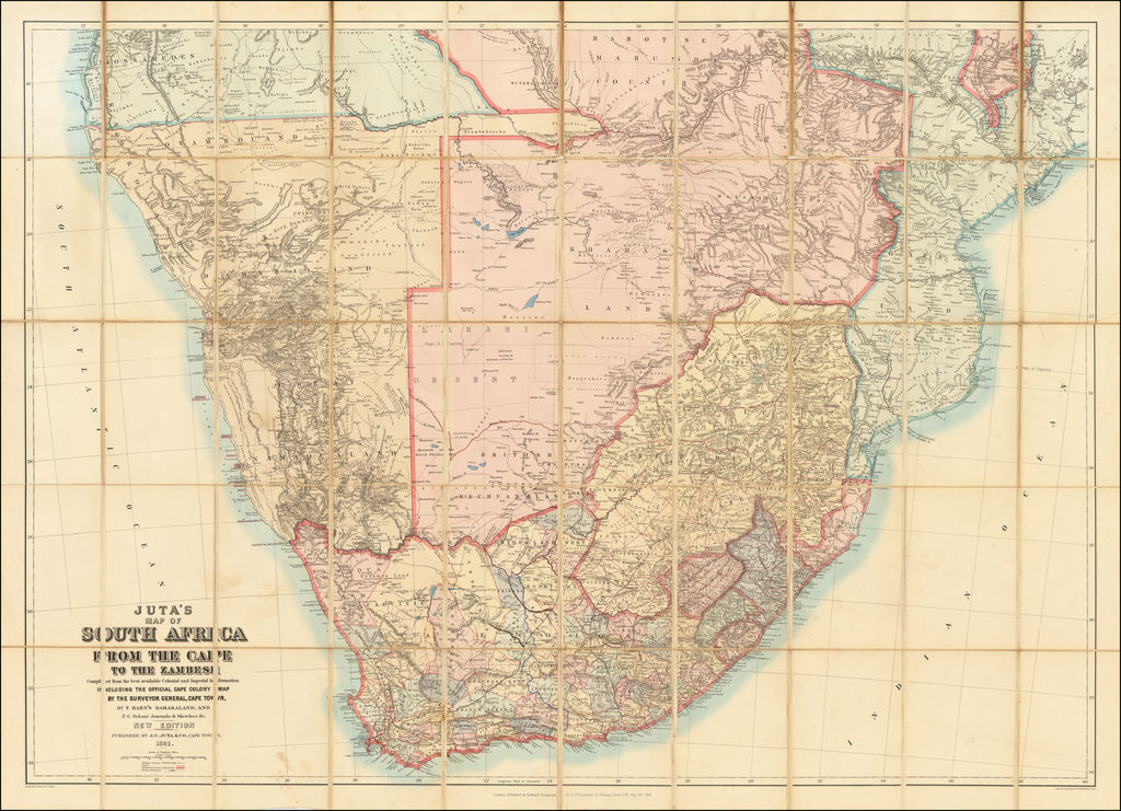Juta's Map of South Africa From The Cape To Zambesi  Compiled from the best available Colonial and Imperial Information Including The Official Cape Colony Map By The Surveyor General, Cape Town, Dr. T.Hahn's Damaraland, And E.C.Selous' Journals & Sketches &c.  New Edition .. . . 1891 By Edward Stanford / J.C. Juta