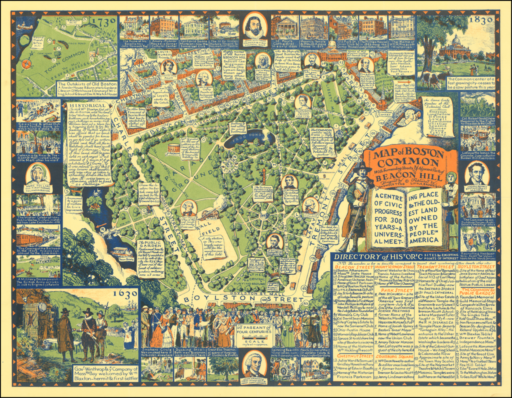 Map of the Boston Common With Surrounding Streets & Adjacent Parts of Beacon Hill By Griswold Tyng