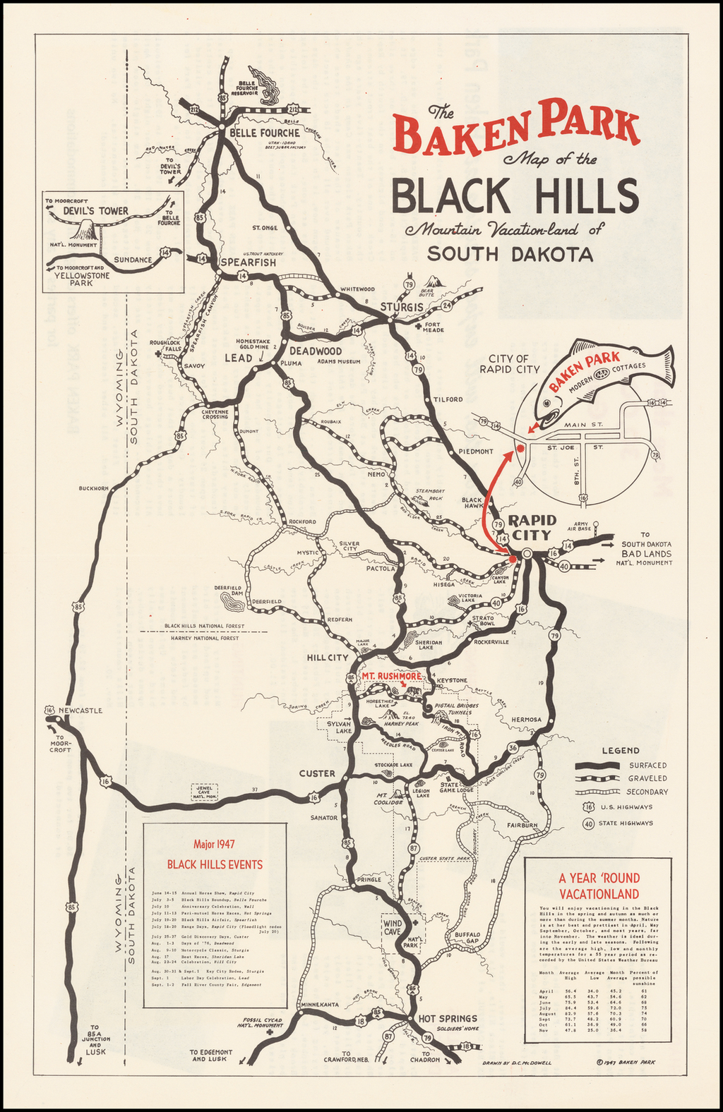 The Baken Park Map of the Black Hills Mountain Vaction-Land of South Dakota By D. C. McDowell