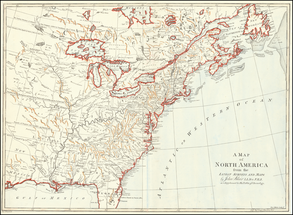 A Map of North America from the Latest Surveys and Maps . . . By John Blair